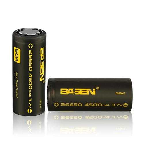 2pcs Basen BS26003 26650 4500mah 3.7V 60A Unprotect Flat Top Rechargeable Li-ion Battery