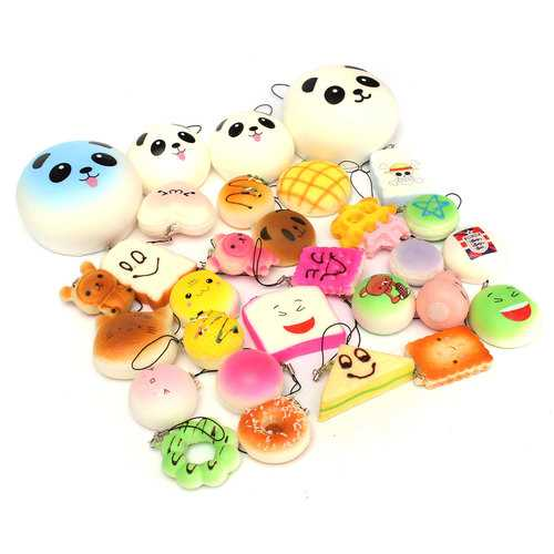 18PCS Squishy Christmas Gift Decor Panda Cup Cake Toasts Buns Donuts Random Soft Cell Phone Straps