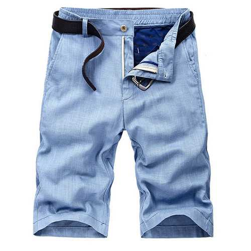 Mens Outdoor Casual Straight Slim Fit Big Size Solid Color Elastic Waist Flax Summer Shorts