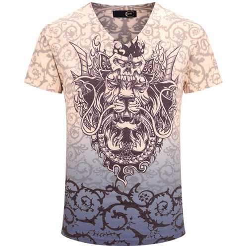 Chinese Dragon Printing Summer V-neck Short Sleeve Personality Men T-shirt