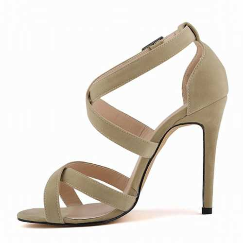 Large Size Strappy Peep Toe Buckle Sexy High Heel Sandals