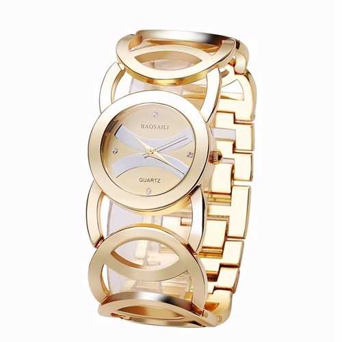 BAOSAILI BSL089 Fashion Luxury Crystal Gold Color Dress Wristwatch For Women Ladies Quartz Watch