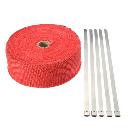 15M Red Exhaust Header Manifold Pipe Insulating Wrap Heat Tape + 5 Zip Tie