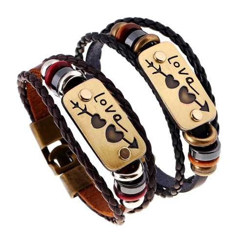 Leather Woven Hand Rope Unisex Men Women Bracelet Jewelry Clothing Accessories Gift
