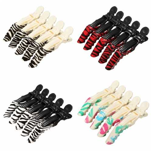 5pcs Professional Crocodile Hair Clips Hairdressing Salon Sectioning Clamp Hairpin Grip Barber