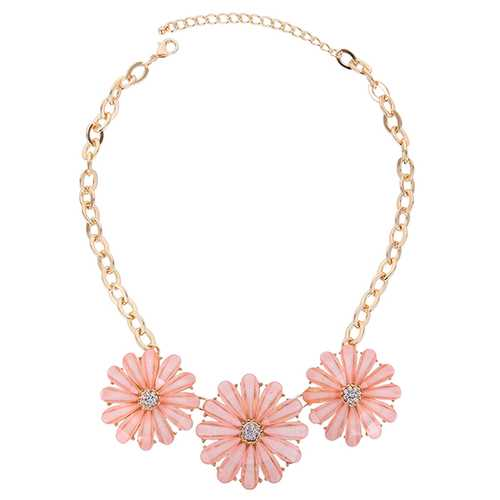 Pink Crystal Flower Pendant Necklace For Women