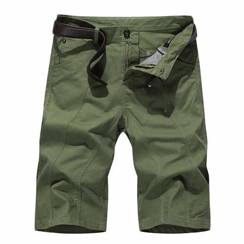 Mens Solid Color Beach Shorts Fashion Casual Slim Fit Knee-length Summer Cotton Shorts