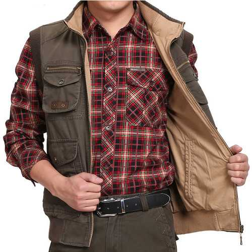 Autumn Winter Double Side Outdooors Vest Casual Multi Pocket Fishing Waistcoat Plus Size