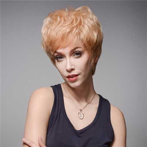 13 Colols Short Side Bang Human Hair Wig Virgin Remy Mono Top Capless Cool Wigs