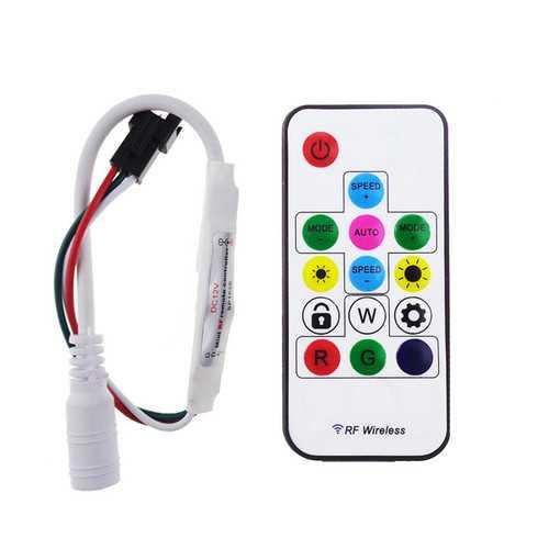 DC 5V WS2812 /12V WS2811 RF LED Light Strip Wireless Remote Mini Controller