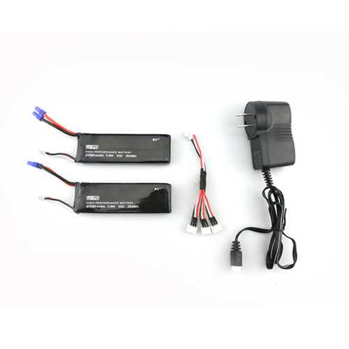 2 x 7.4V 10C 2700mAh Battery & 1 To 3 Charging Cable Set for Hubsan H501S X4 RC Quadcopter
