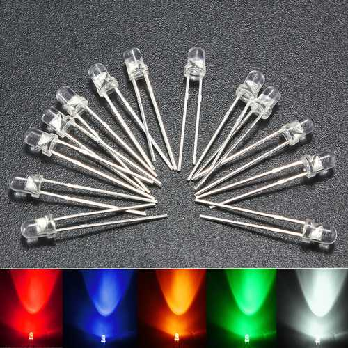 1000pcs 3MM Round Red Green Blue Yellow White Water Clear LED Diodes Light Kit