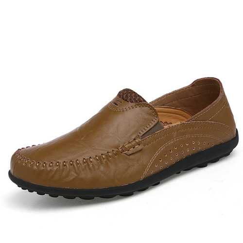 Men Breathable Leather Casual Outdoor Business Flat Driving Comfortable Loafers Shoes