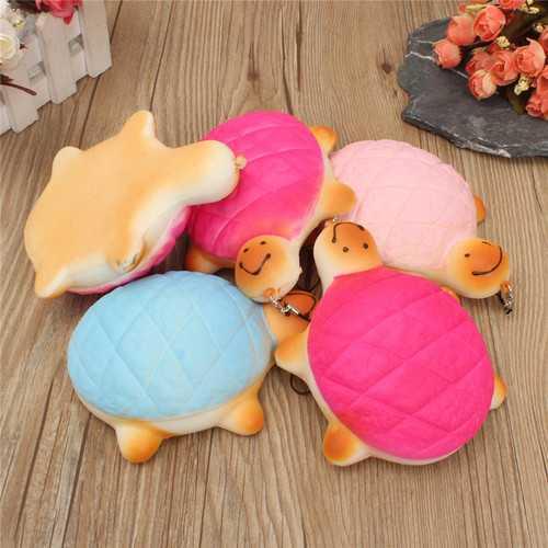 13cm Soft Kawaii Cute little Turtle Phone Bread Bun Squishy Charms With Rope Random Color