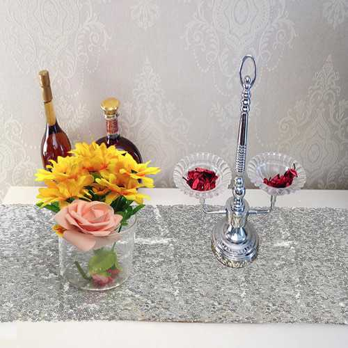 30x180cm Sliver Blush Sequins Cloth Table Runner Wedding Party Tablecloth Decoration