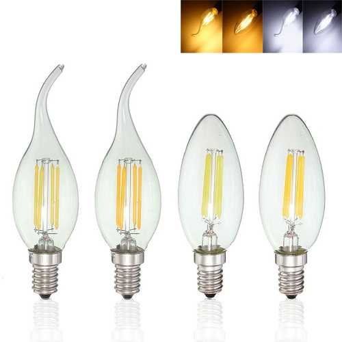 Dimmable E14 4W COB Edison Filament Bulb LED 400Lm Candle  Light Candle AC220V
