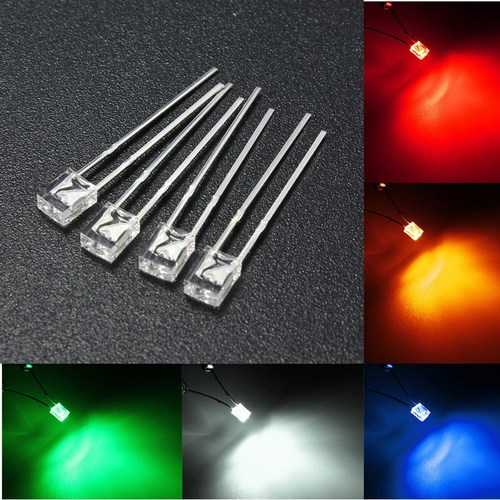 100PCS 2x3x4mm Wide Angle Flat Top LED Diodes Water Clear Transparent Light Lamp