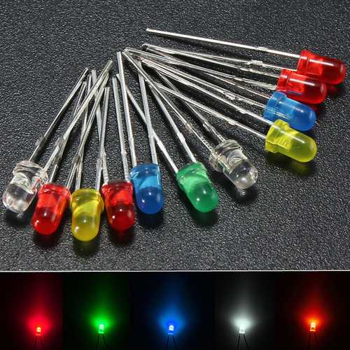 100Pcs 3mm Round Top LED Diodes Light White Yellow Red Blue Green Assortment DIY Lamp