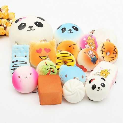 18PCS Random Soft Squishy Panda Cake Phone Charm Strap