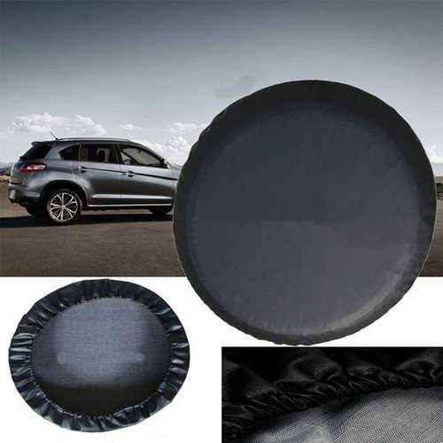 15 Inchs Black PVC Leather Spare Wheel Tire Cover Waterproof Size M For Jeep SUV Universal Car