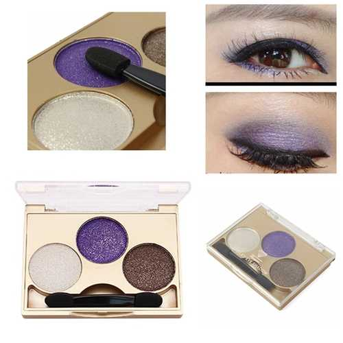 3 Colors Smokey Eye Shadow Palette Kit Glitter Shimmer Eyeshadow Gold Eyes Makeup Set