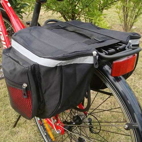 Bike Rear Seat Tail Bag Bicycle Cycling Pannier Outdoor Rack Saddle Double Side Bag