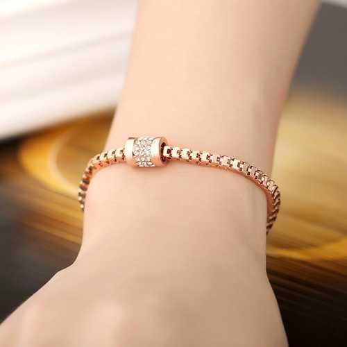 JASSY® Stylish Rose Gold Inlay Zircon Crystal Bracelet