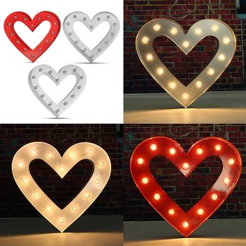 Vintage Metal LED Heart Shape Marquee Light Table Lamp DIY Wedding Party Decoration