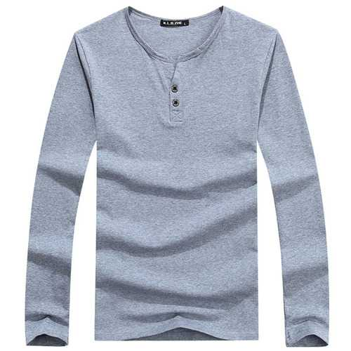 Autumn Winter Mens Cotton Long Sleeve T-shirts Casual Buttons T-shirt 6 Colors