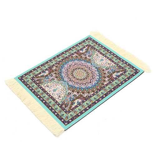 28cm x 18cm Light Blue Bohemia Style Persian Rug Mouse Pad For Desktop PC Laptop Computer