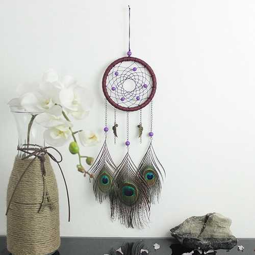 Natural Hand Woven Feathers Dreamcatcher American Folk Custom Gifts Home Car Hanging Decor Ornament