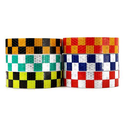 25mm*2m Warning Caution Reflective Sticker Dual Color Chequer Roll Signal