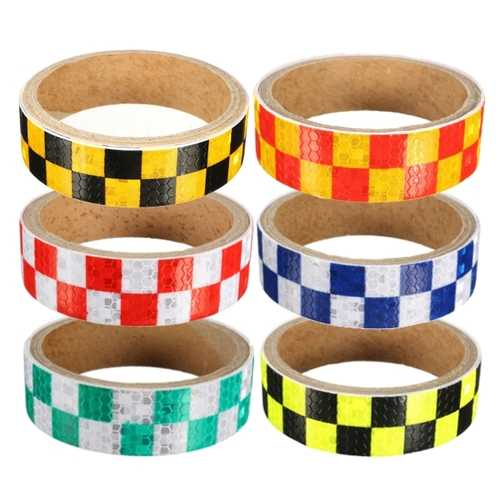 25mm x 1m Warning Caution Reflective Sticker Dual Color Chequer Roll Signal