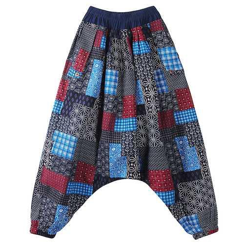 Men Yoga Big Crotch Pants Male Casual Harem Pants Bloomers Loose Cotton Linen Trousers