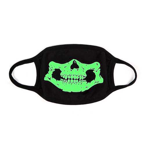 Unsiex Men Noctilucence Luminous Green Cartoon Skeleton Pattern Anti-Dust Cotton Mouth Mask