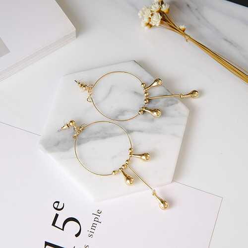 24K Gold Modern Style Water Drops Tassels Exaggerated Earrings For Women