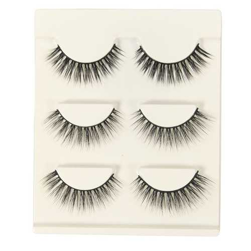 3 Pairs False Eyelashes Makeup Black Handmade Cluster Natural Long Eyelashes