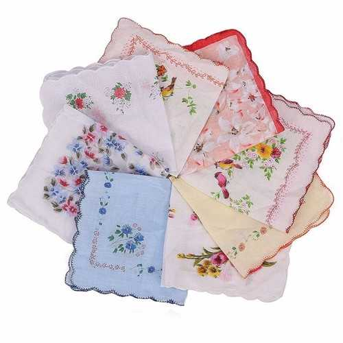 1PC Women Ladies Cotton Hankies Vintage Style Floral Hanky Handkerchiefs Various