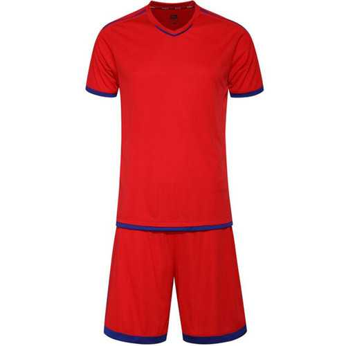 Plus Size Short Sleeve Men's Football Suit Quick Dry Breathable Reflection Soccer Tops+Pants