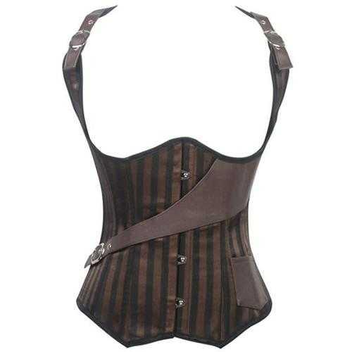 Luxury Pocket Belt Coffee Striped Steampunk Vest Corset