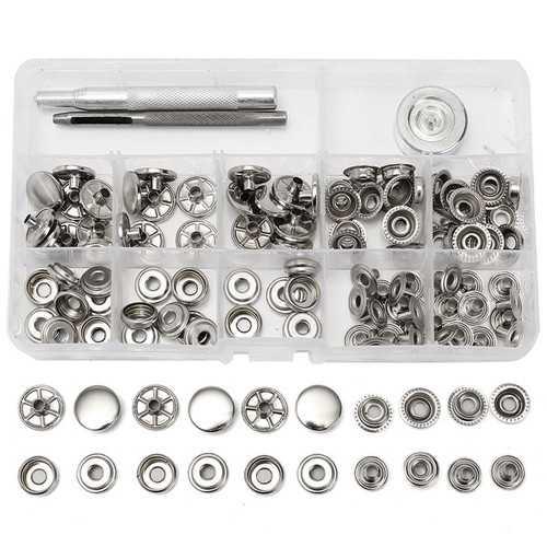 31pcs Metal Canvas Buckle Quick Snap Fastener Buttons Screws Kits