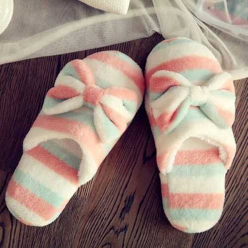 Women Striped Bowknot Slippers Winter Warm Indoor Soft Loafers