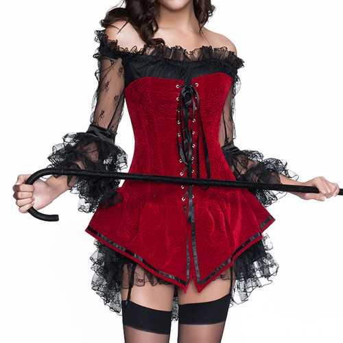 Halloween Costumes Woman Sexy  Back Zipper Jacquard Steel Bone Corsets Waist Shaper Bustiers
