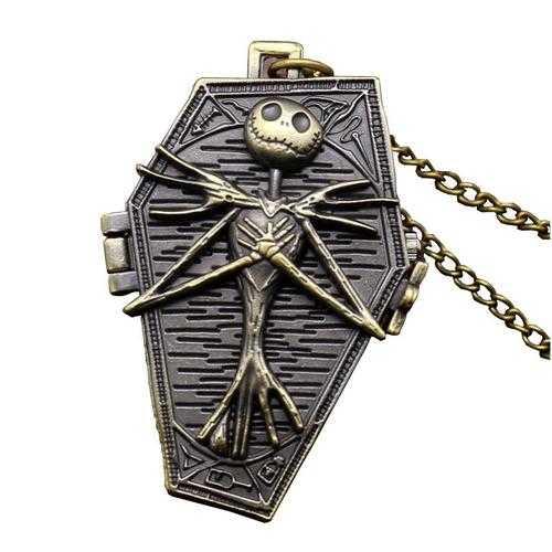 DEFFRUN Nightmare Before Christmas Quartz Pocket Watch Retro Antique Pendant Necklace Children Gift