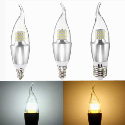 Dimmable E27 E14 E12 7W 60 SMD 3014 LED Pure White Warm White Sliver Candle Light Lamp Bulb AC110V