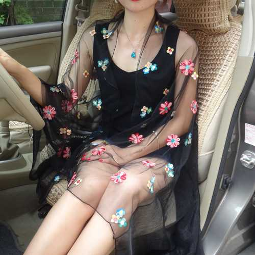 190X120CM Silk Chiffon Flower Embroidery Scarf Transparent Beach Shawls Dress Square
