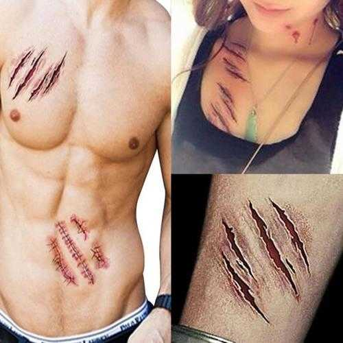 3Pcs Halloween Zombie Scars Tattoos Fake Scab Bloody Makeup Terror Wound Scary Blood Injury Sticker