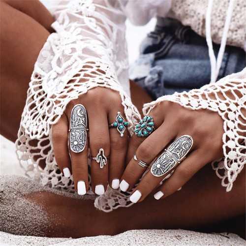 9PCS Boho Style Silver Vintage Ring Women Geometry Finger Ring Set