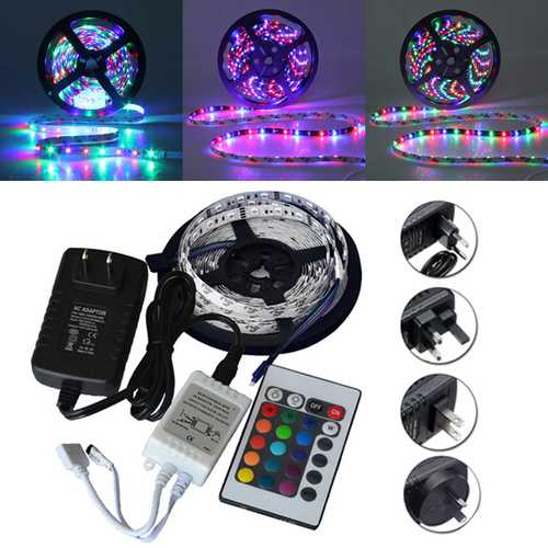 5M SMD 3528 300 Waterproof LED RGB Strip Flexible Light 24 key IR remote + Power Adapter DC12V