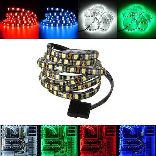 1M Waterproof 5050 LED Flexible Strip Background Light PC Computer Case DC12V